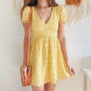 Forever 21 Eyelet Lace Plunge Mini Dress